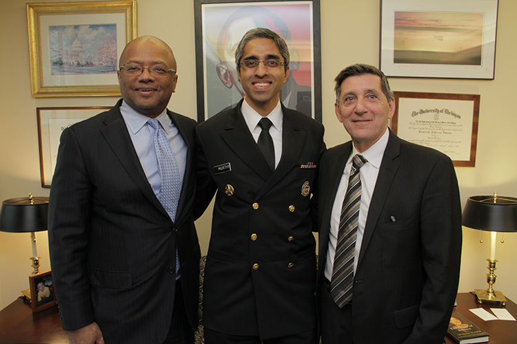 Secretary Broderick Johnson, Surgeon General Vivek Murthy, Director of Drug Policy Michael Botticelli